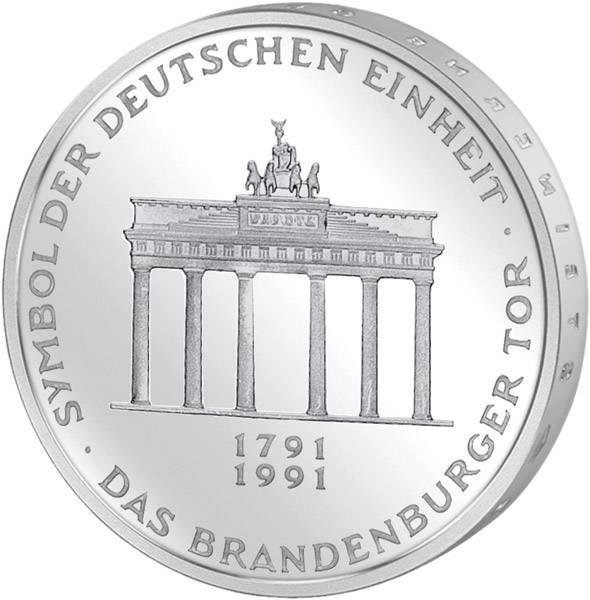 10 DM Münze BRD Brandenburger Tor 1991