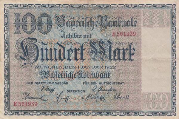 100 Mark Bayern Bayrische Notenbank 1922