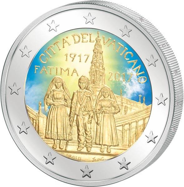 2 Euro Vatikan 100. Jahrestag der Erscheinung von Fatima 2017 mit Farb-Applikation