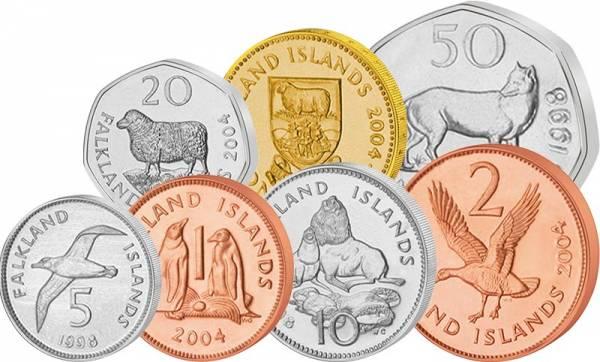 1 Pence - 1 Pound Falklandinseln Kursmünzen 1998-2004