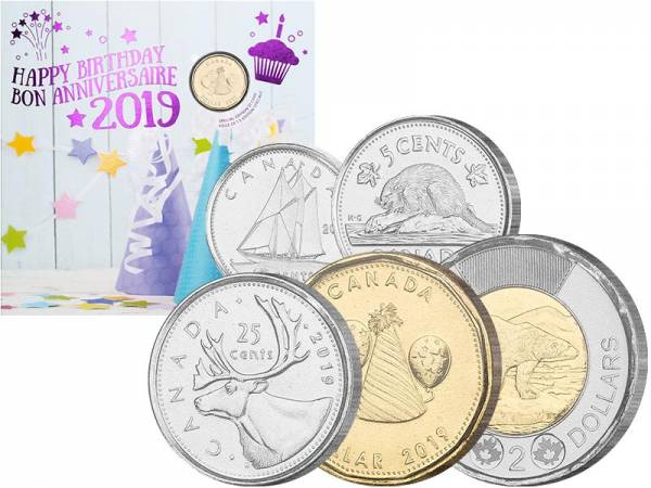 5 Cents - 2 Dollars Kursmünzen Kanada Birthday Set 2019