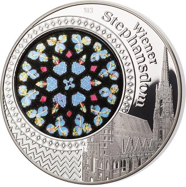 Gedenkprägung Wiener Stephansdom mit Glasinlay