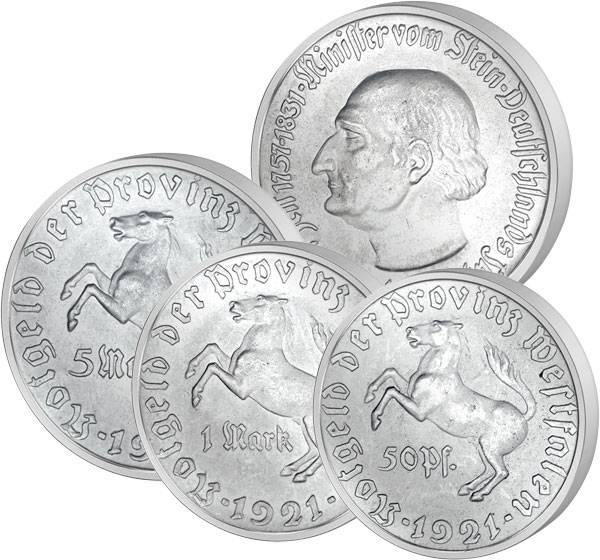 50 Pfennig, 1 Mark, 5 Mark Notmünzen-Set Westfalen