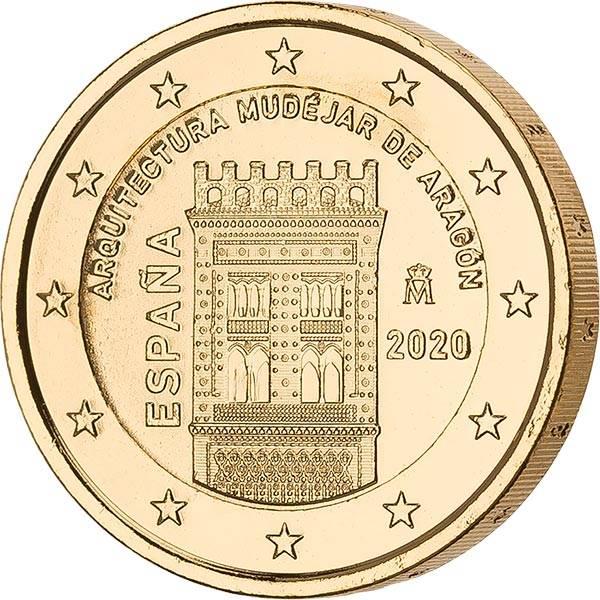 2 Euro Spanien Architektur der Mudéjaren in Argón 2020 vollvergoldet