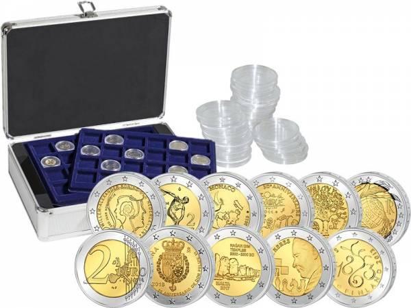 10 x 2 Euro Kombi-Set inkl. 150 Kapseln und Münzkoffer mit 6 Tableaus