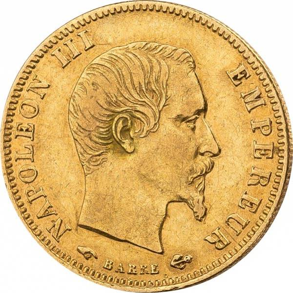 5 Francs Frankreich Napoleon III. ohne Kranz JuW