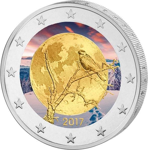 2 Euro Finnland Finnische Natur 2017 mit Farb-Applikation