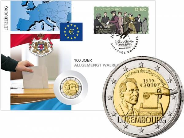 2 Euro Numisbrief Luxemburg 100 Jahre Allgemeines Wahlrecht 2019