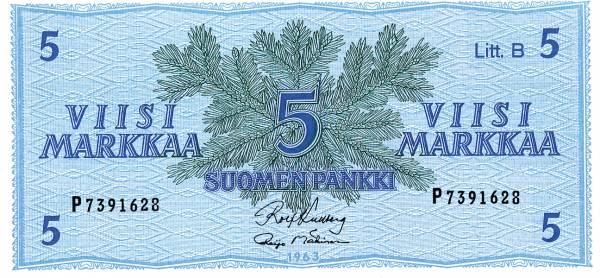 5-Markka-Banknote Finnland 1963