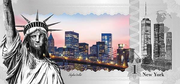 1 Dollar Cook-Inseln Skyline-Dollar - New York Liberty