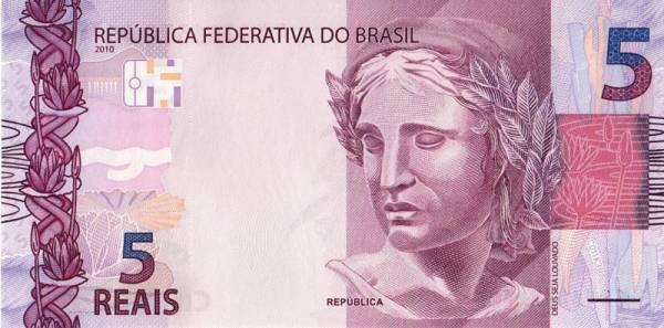 5 Reals Banknote Brasilien 2010