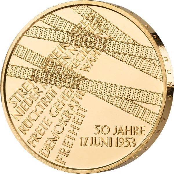 10 Euro BRD 50 Jahre Volksaufstand 17. Juni 1953 2003 vollvergoldet