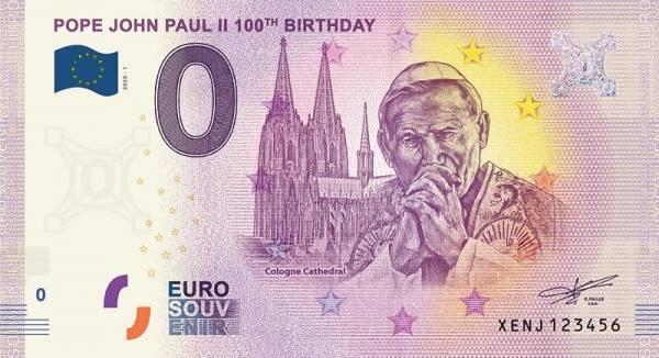 0-Euro-Banknote 100. Geburtstag Papst Johannes Paul II. 2020