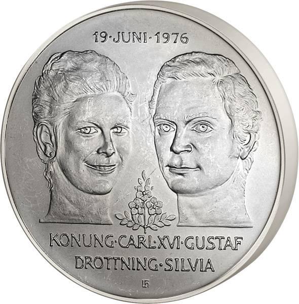 10 Kronen Schweden Hochzeit von Carl XVI. und Silvia 1976