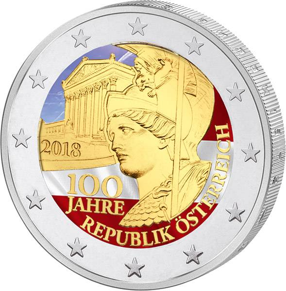 2 Euro Österreich 100 Jahre Republik Österreich 2018 mit Farb-Applikation