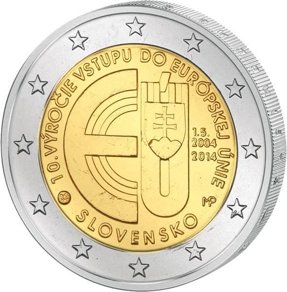 2 Euro Slowakei 10 Jahre EU-Beitritt 2014 prägefrisch