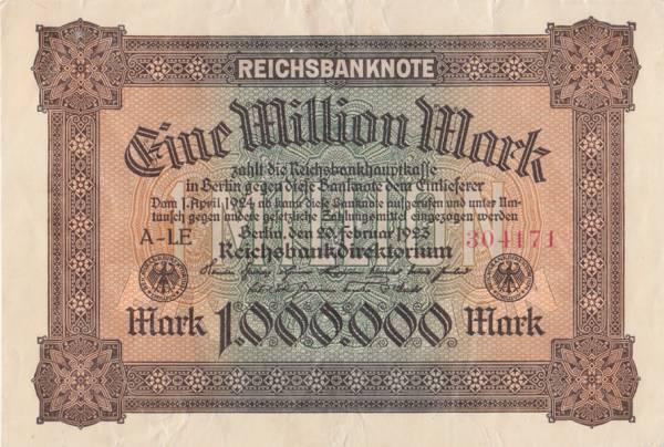 1 Million Mark Deutschland Banknote 1923