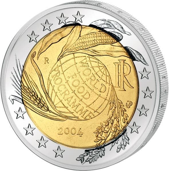 2 Euro Italien Welternährungsprogramm 2004 prägefrisch
