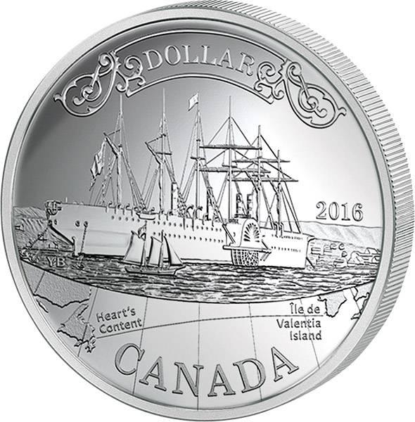 1 Dollar Kanada 150 Jahre erstes Transatlantik-Kabel 2016 Polierte Platte (PP)
