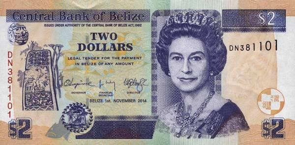 2 Dollars Banknote Belize Königin Elisabeth II. 2014