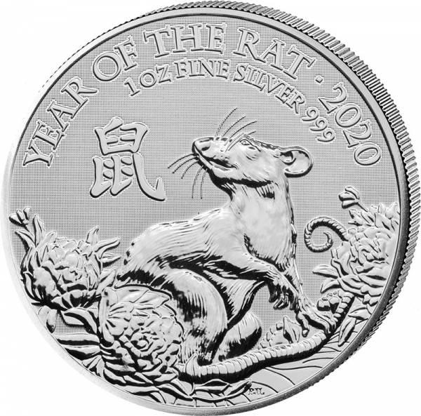 1 Unze Silber Großbritannien Jahr der Ratte 2020