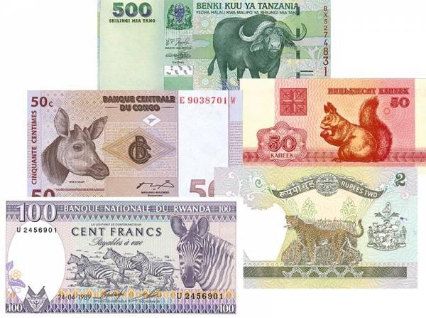 5er Banknoten-Set Landtiere
