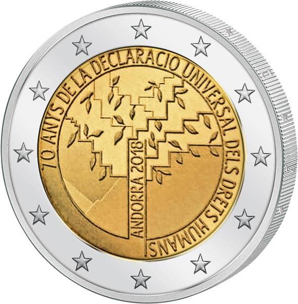 2 Euro Andorra 70. Jahrestag der Erklärung der Menschenrechte 2018