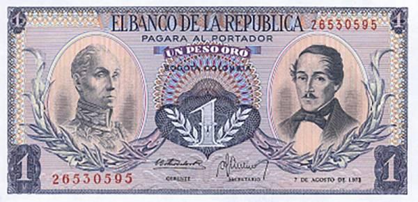 1 Peso Banknote Kolumbien 1970-1974