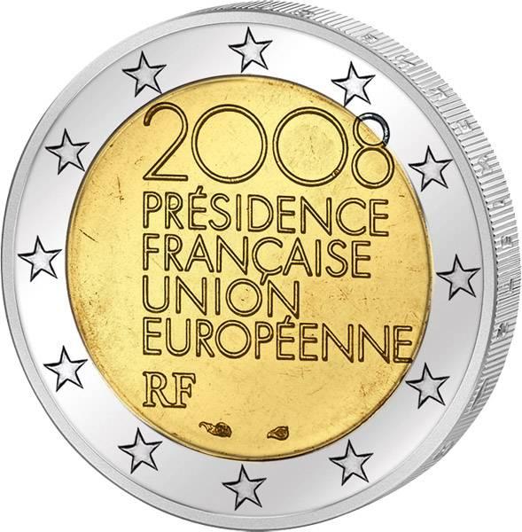2 Euro Frankreich Europäische Ratspräsidentschaft 2008 prägefrisch