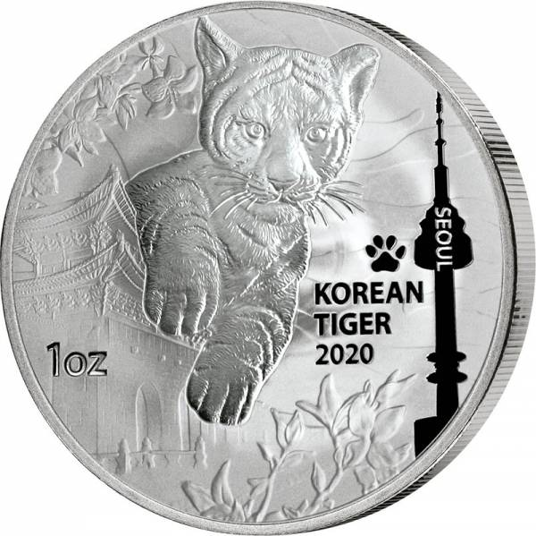1 Unze Silber Korea Tiger 2020