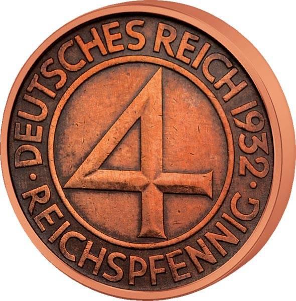4 Reichspfennig Weimarer Republik 1932