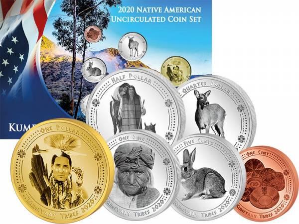 1 Cent - 1 Dollar Kursmünzensatz USA Kursmünzen der Kumeyaay 2020