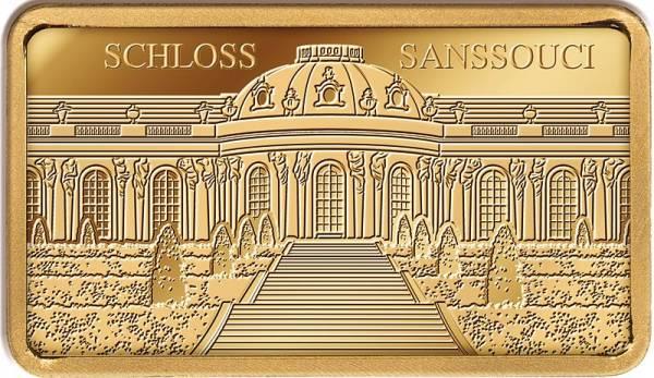 1/100 Unze Goldbarren Schloss Sanssouci