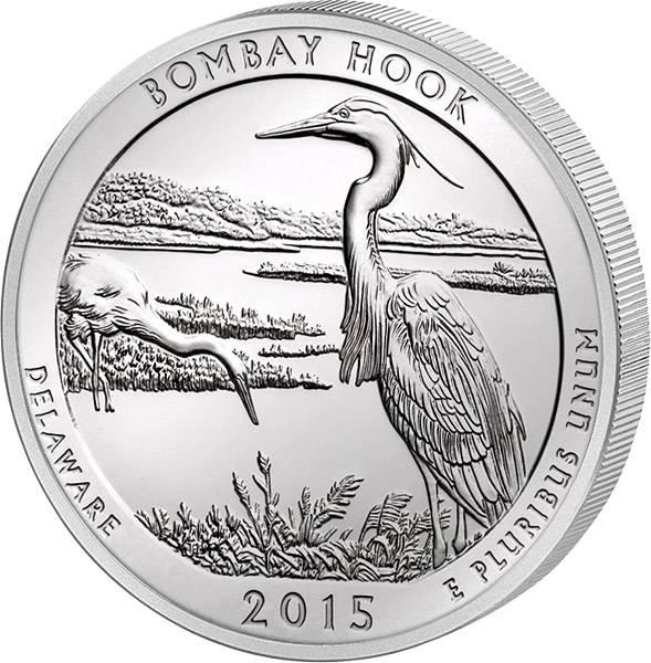 Quarter Dollar USA Delaware Bombay Hook 2015 prägefrisch