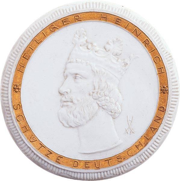 Porzellanmedaille Bamberg 900. Todestag des Kaisers Heinrich II. 1924