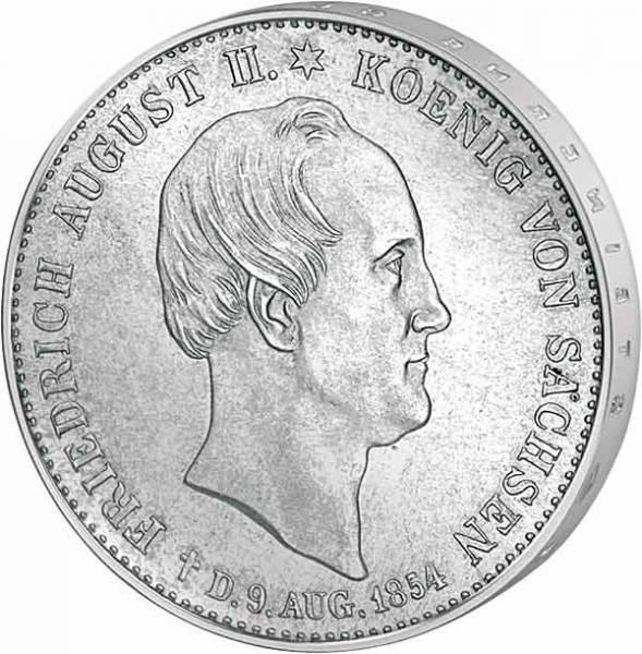Th. 329 Taler Sterbetaler Sachsen König Friedrich August II. 1854  ss
