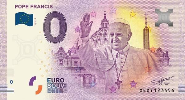 0-Euro-Banknote Papst Franziskus 2018
