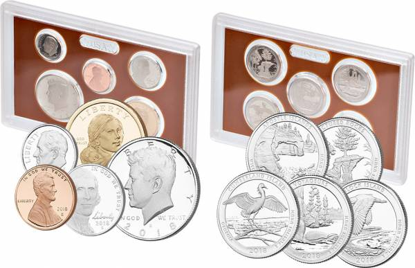 1 Cent - 1 Dollar USA Jahrgangs-Set 2018 + 5 Quarter Dollars USA America the Beautiful 2018