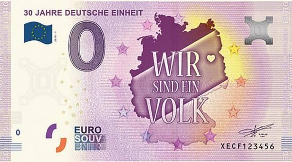 0-Euro-Banknote 30 Jahre Deutsche Einheit 2018