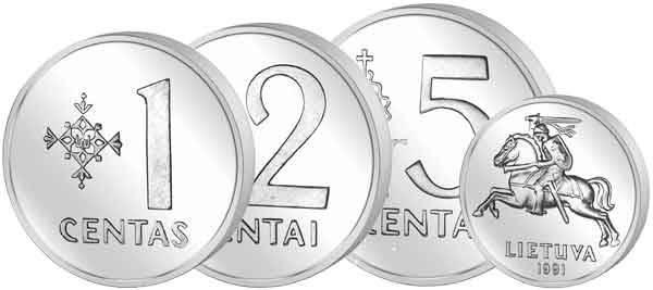1 + 2 + 5 Centai 3er Set Litauen 1991 Stempelglanz