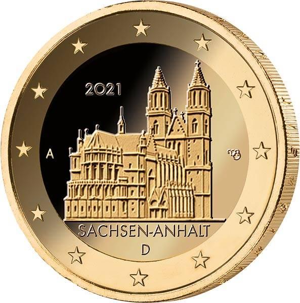 2 Euro BRD Sachsen-Anhalt Magdeburger Dom vollvergoldet BuW