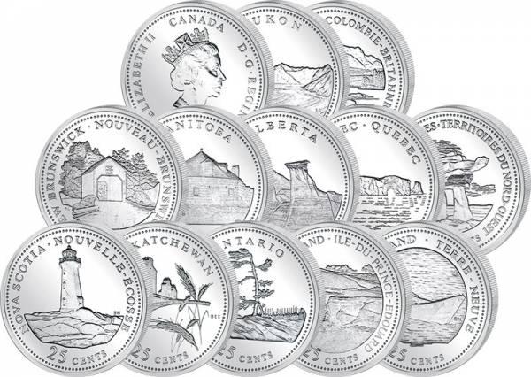 12 x 25 Cents Kanada Provinz-Quarters 125 Jahre kanadischer Staatenbund 1992